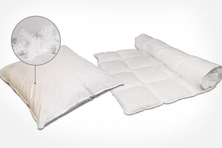 Bettwaren mit Faserbällchen - Kissen und Bettdecken