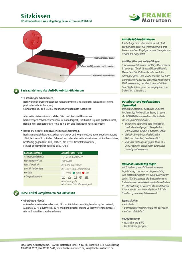 Sitzkissen - Produkt-Datenblatt FRANKE