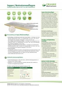 Datenblatt Topper / Matratzenauflagen - Franke Matratzen